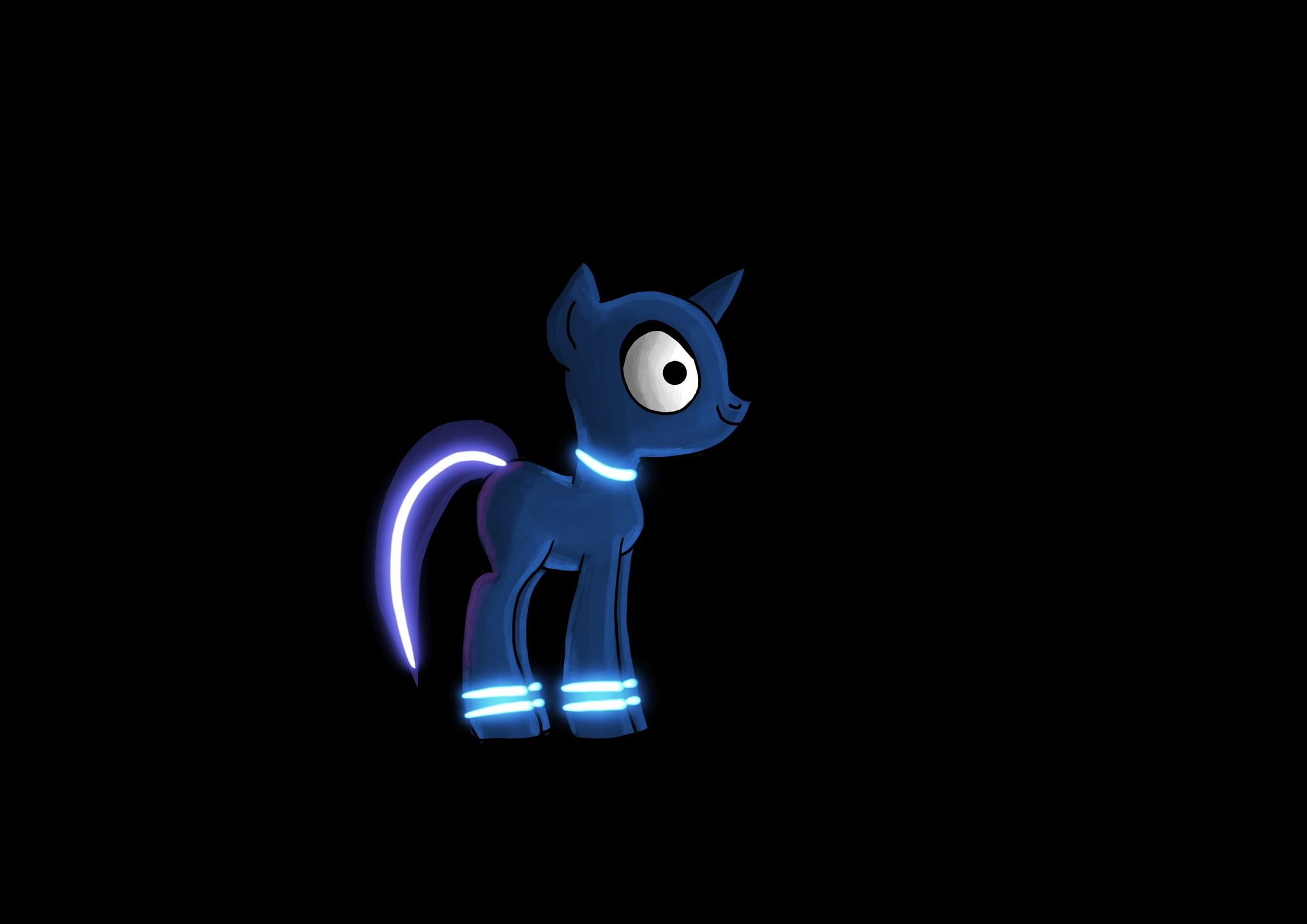 A side-on painting of a My Little Pony character on a black background, coloured in dark blue with neon blue lightning at the top of her hooves and a dark purple tail with a purple neon light running down it.