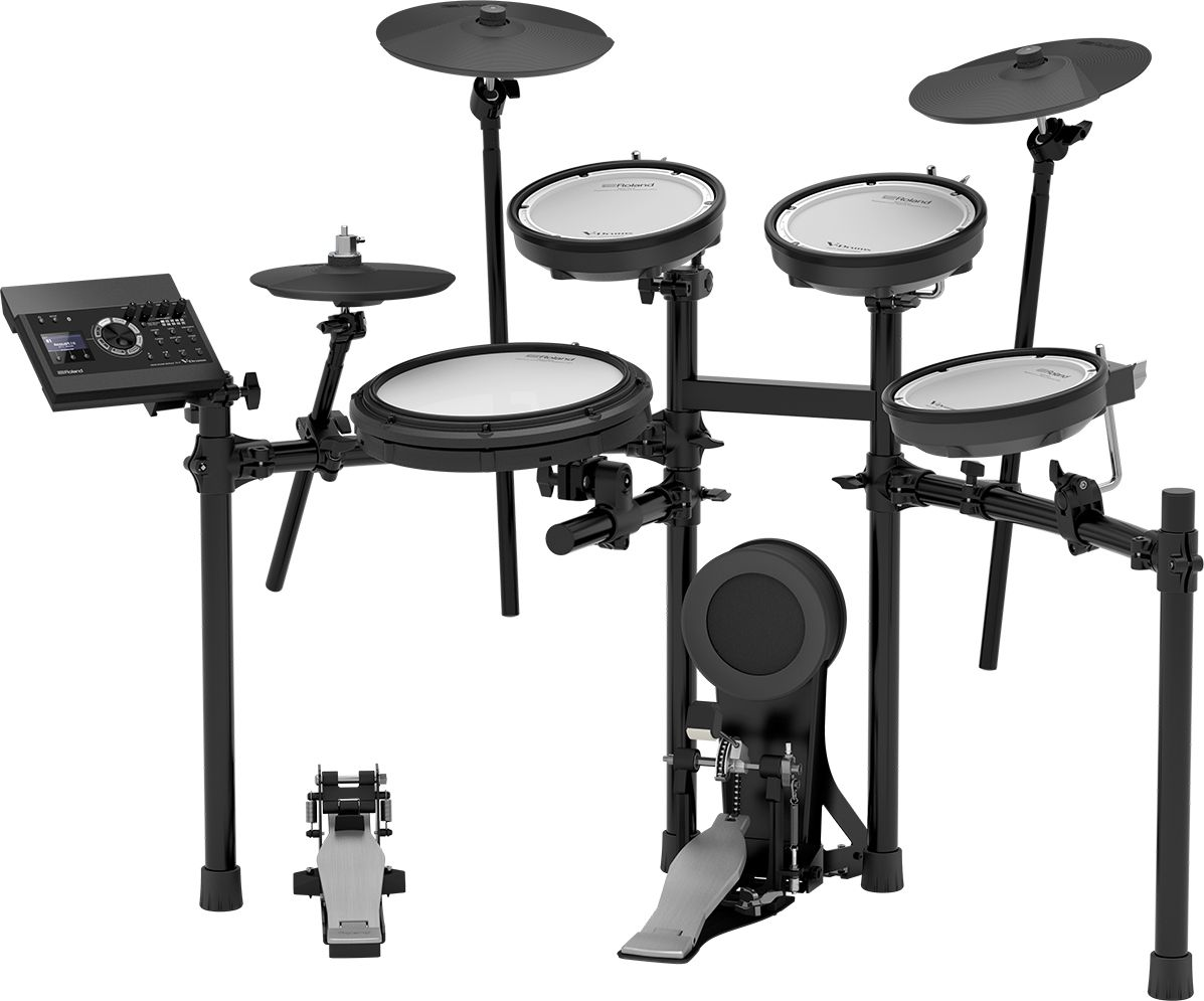 The official product shot of a Roland TD-17KV electronic drum kit. There's four drums, three cymbals, and a kick drum, all attached to a stand.