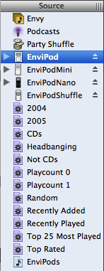 A screenshot of iTunes' sidebar showing four iPods connected at once. There's a regular iPod, an iPod mini, an iPod nano, and an iPod shuffle.