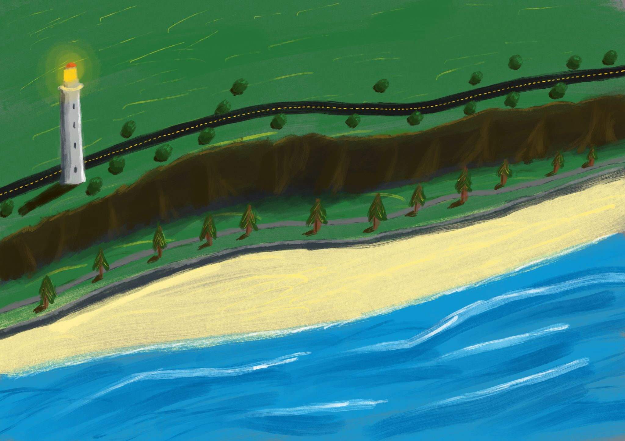A digital painting of the view of a beach from the air, running left to right, with a row of trees in grass above that, then a pathway, then a cliff, some short bushes at the cliff edge, and a two-lane road. At the left is a white lighthouse.