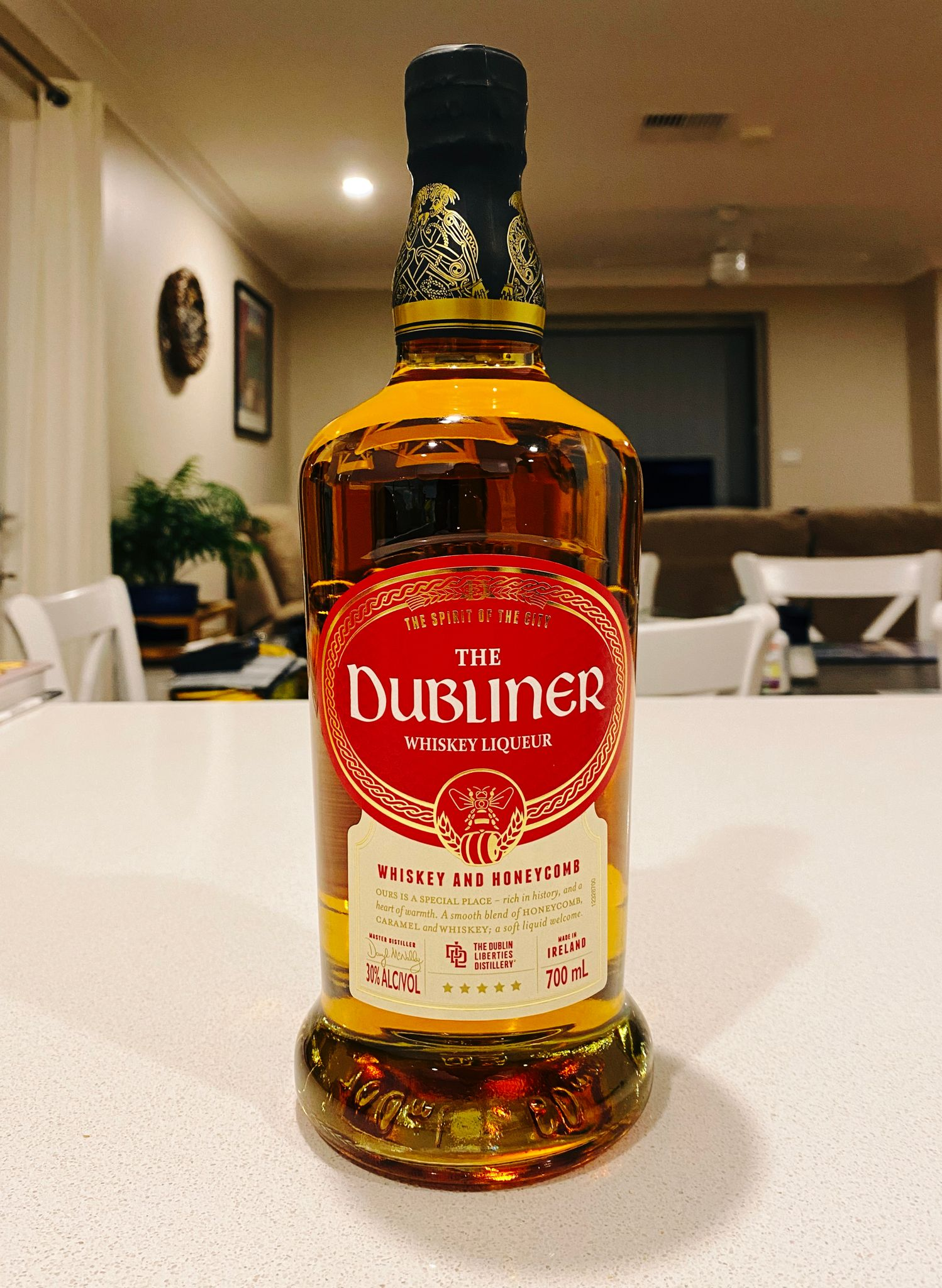 A photo of a bottle of whiskey liqueur.