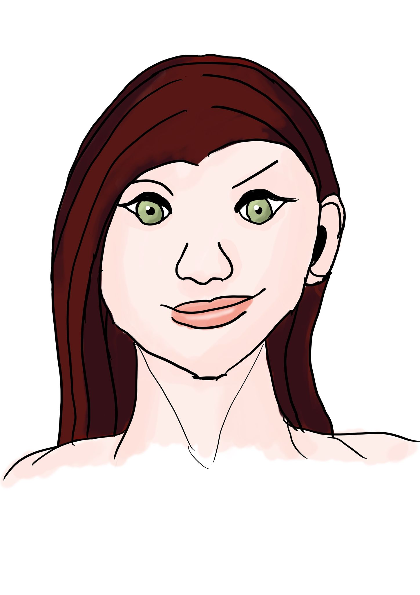 A portrait sketch of a pale red-haired woman with green eyes, smirking and raising one eyebrow.