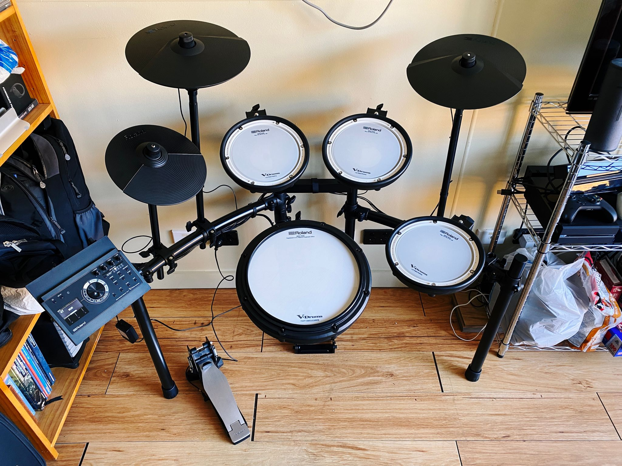 A photo of an assembled Roland electronic drum kit.