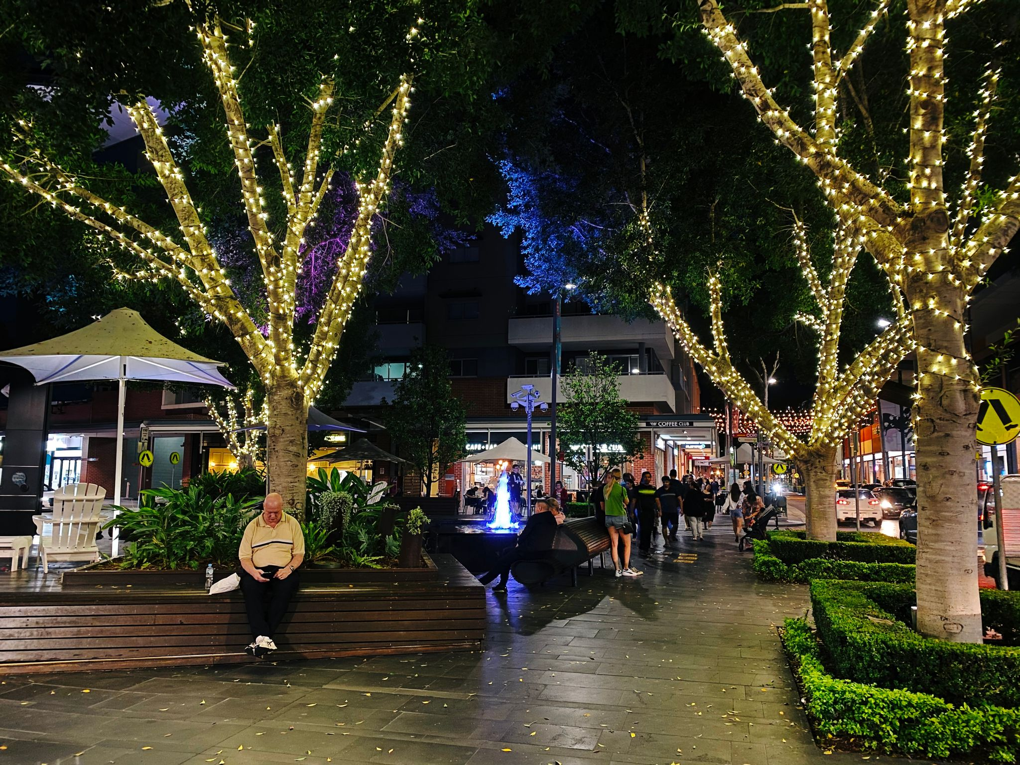 A nighttime shot of several trees at the centre of Rouse Hill Town Centre, all strung up with lights around the trunks.