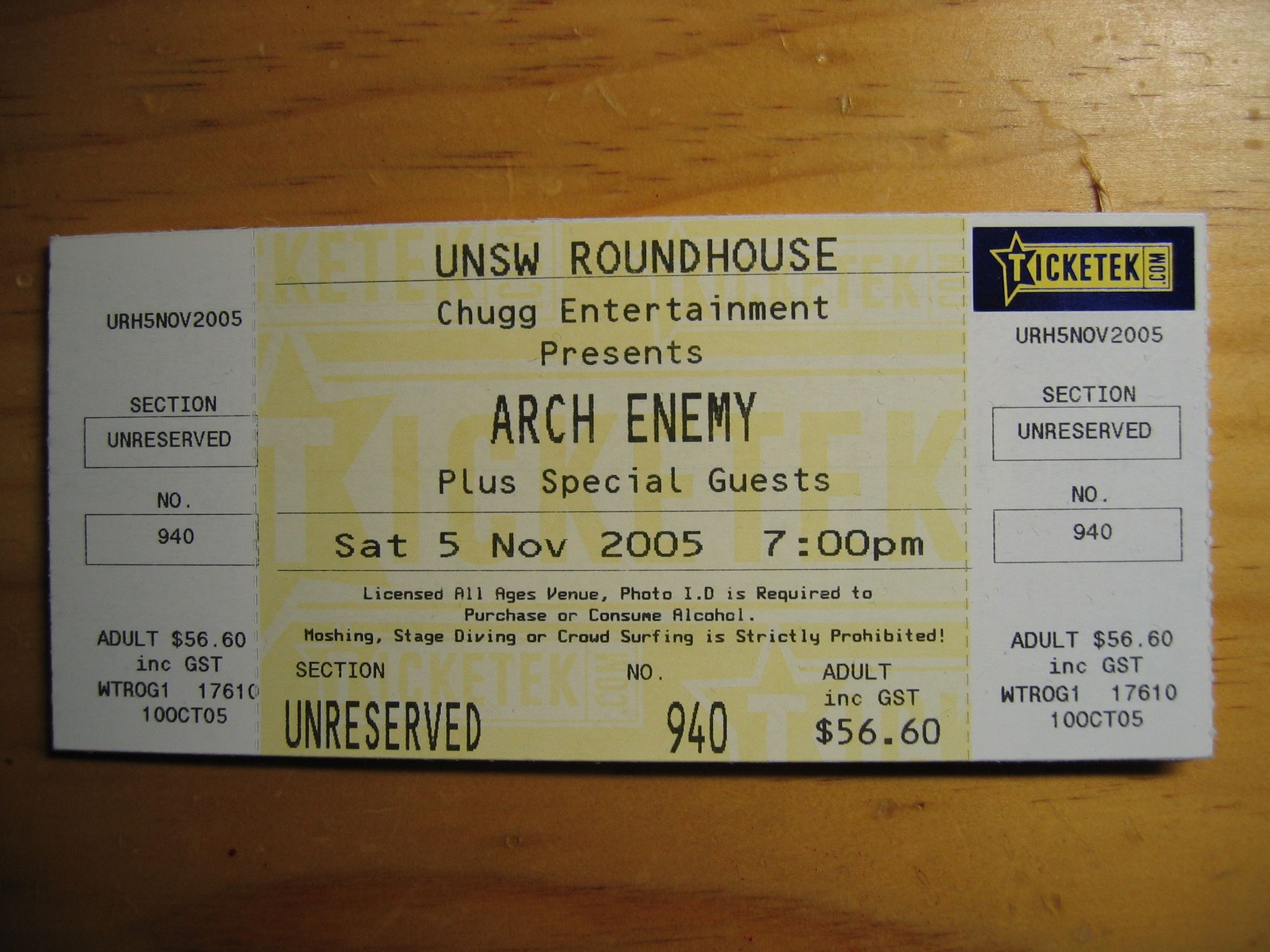 A photo of a ticket to a concert by the death metal band Arch Enemy.