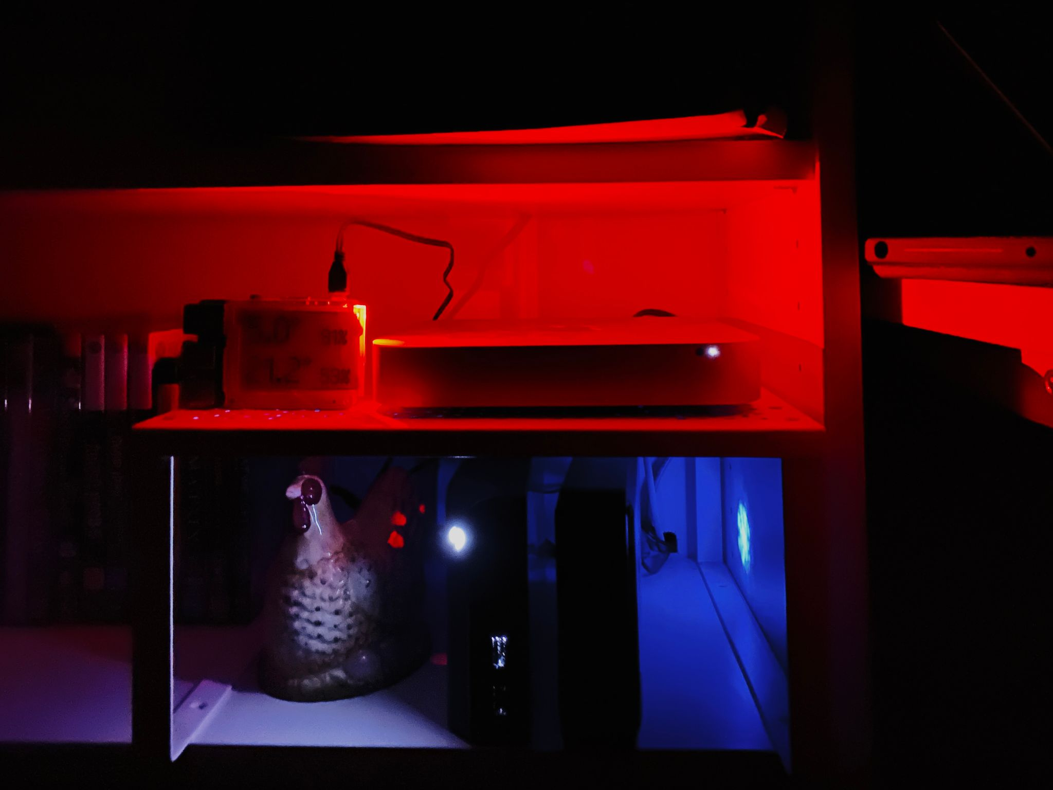 A photo of a Mac mini on a small shelf with a Raspberry Pi next to it. The power LED on the Pi is emitting a REALLY deep rich red. Under the shelf are two external hard disks with blue LEDs in them, and to the left of them is a dubious-looking ceramic chicken. There's no light at all apart from what's coming from the LEDs.