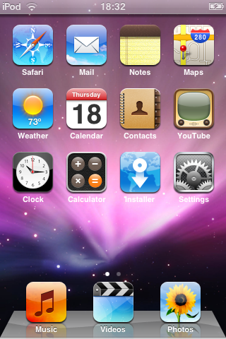A screenshot of an iPod touch home screen, but instead of the standard black background, it has the nebula image from Mac OS X.