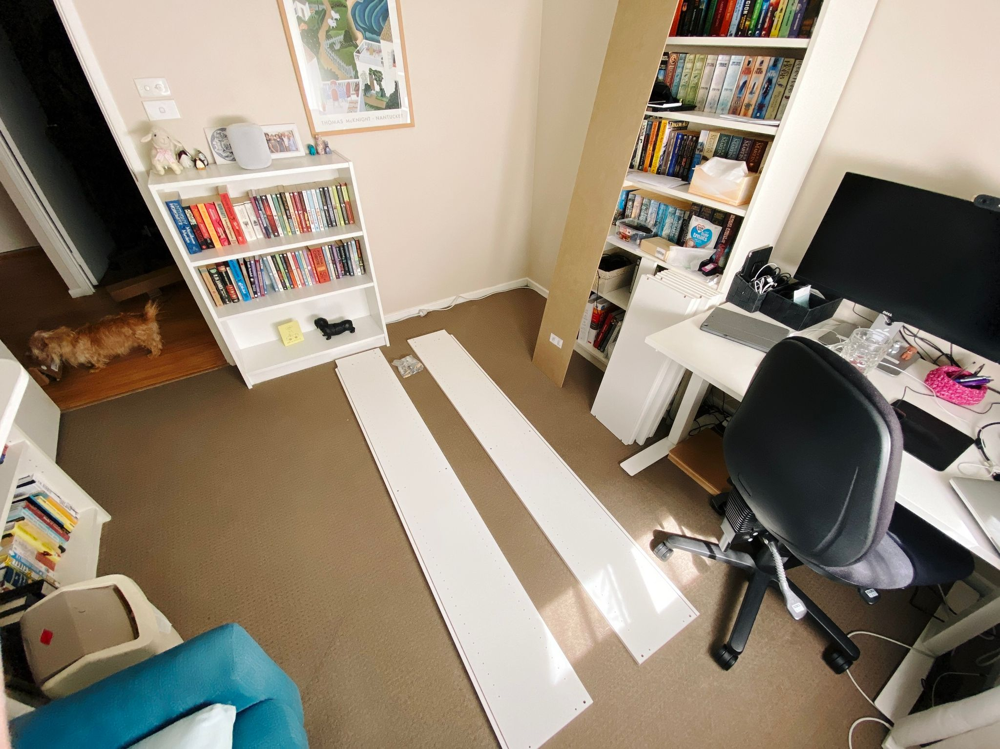 A wide-angle photo of our home office showing a full height white Billy bookcase along the right wall and a half-size on along the left, with a third full-size one in pieces on the floor.