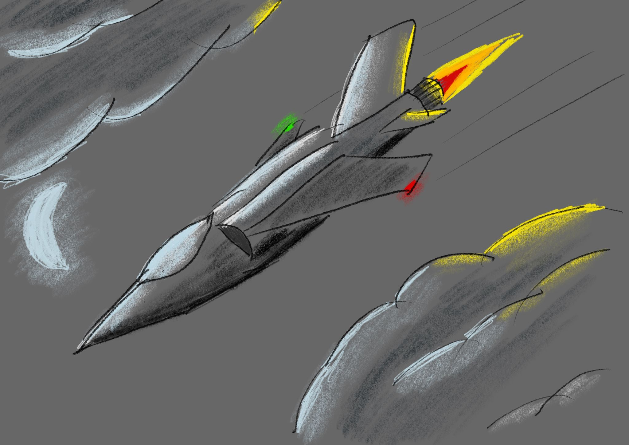 "A ""pencil"" drawing of a nonspecific jet fighter flying between clouds. The moon is lighting up the edges of the clouds and the afterburner on the jet is lighting up the back of the jet and part of the clouds as well."