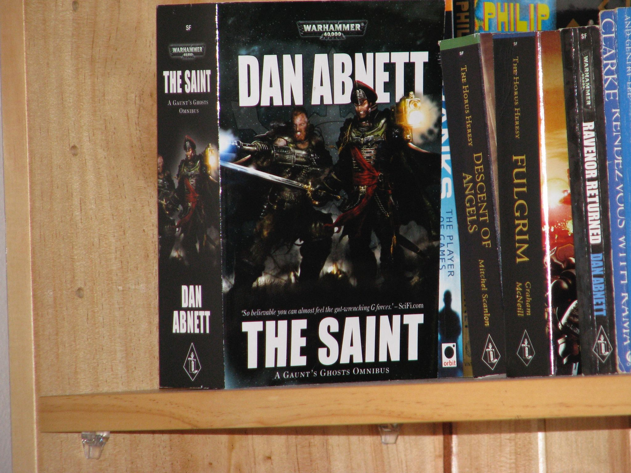"A quite zoomed-in photo of Dan Abnett's omnibus ""The Saint""."