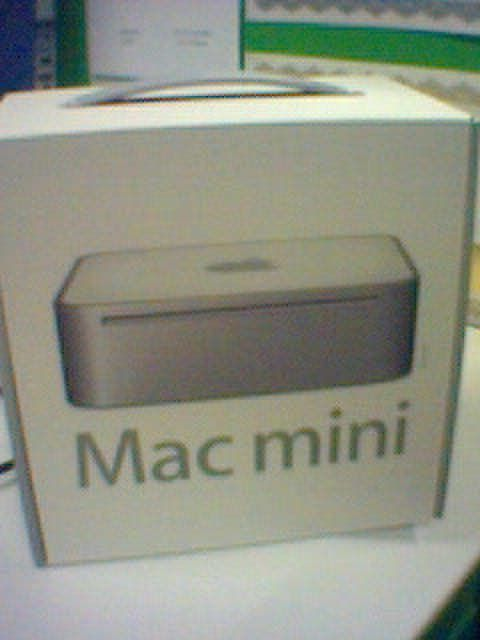 A photo of the retail box of a G4 Mac mini.