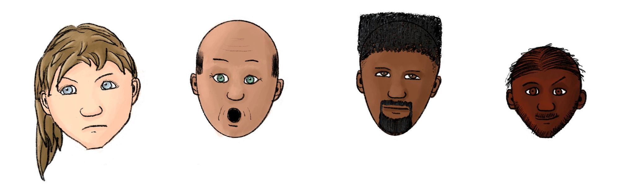 Four cartoon-style heads: a white girl with long blonde hair looking unimpressed, a bald Asian man looking shocked, a black man with big hair and a goatee looking sleepy, and an Indian man smirking with one eyebrow raised.
