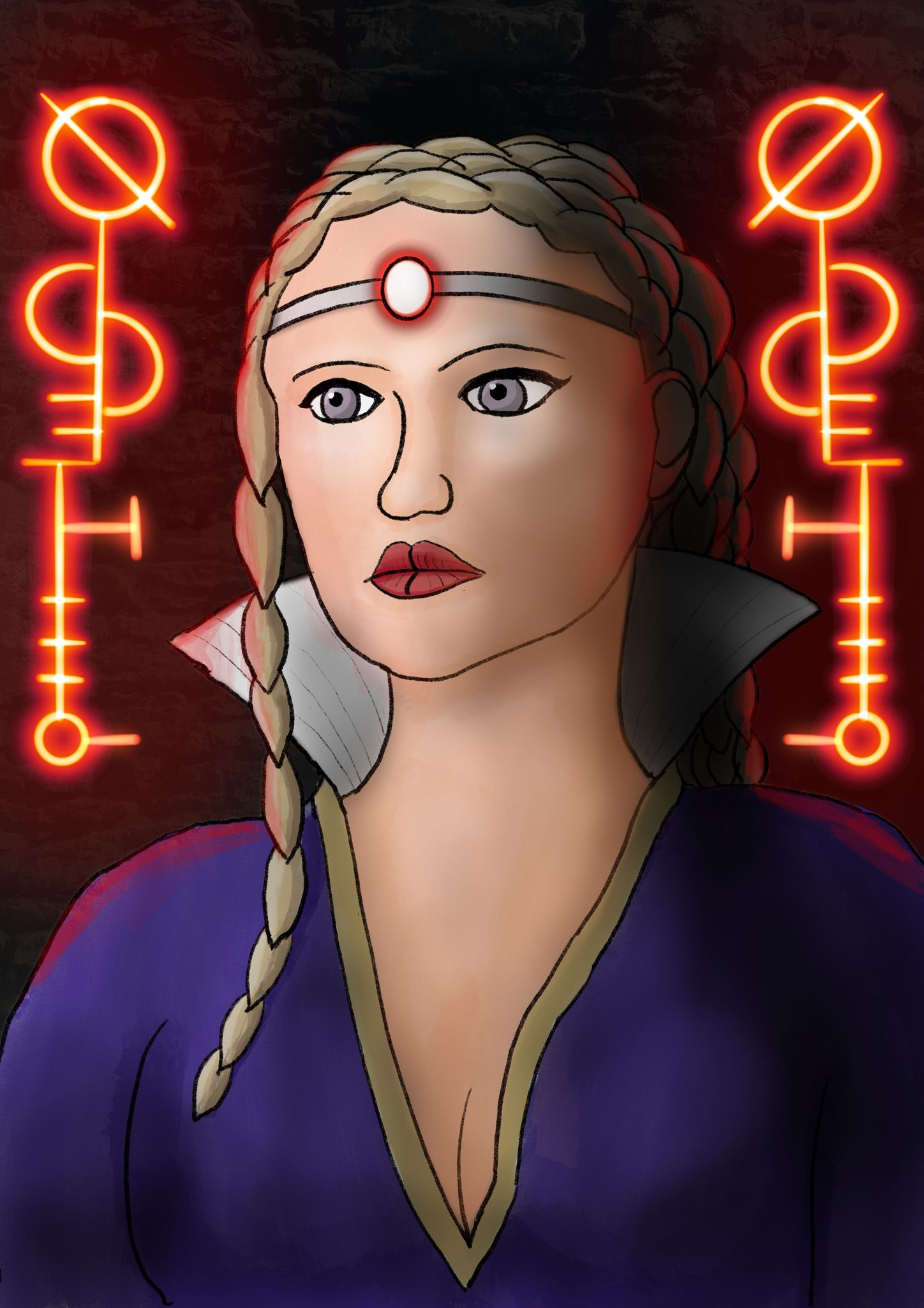 A painting of a white woman from the chest up, lit from the left side while her right side is heavily shadowed. She has long braided blonde hair and is wearing a purple high-collared dress. Behind her and to her left and right are glowing red elritch runes, giving a faint red tinge to her outline.