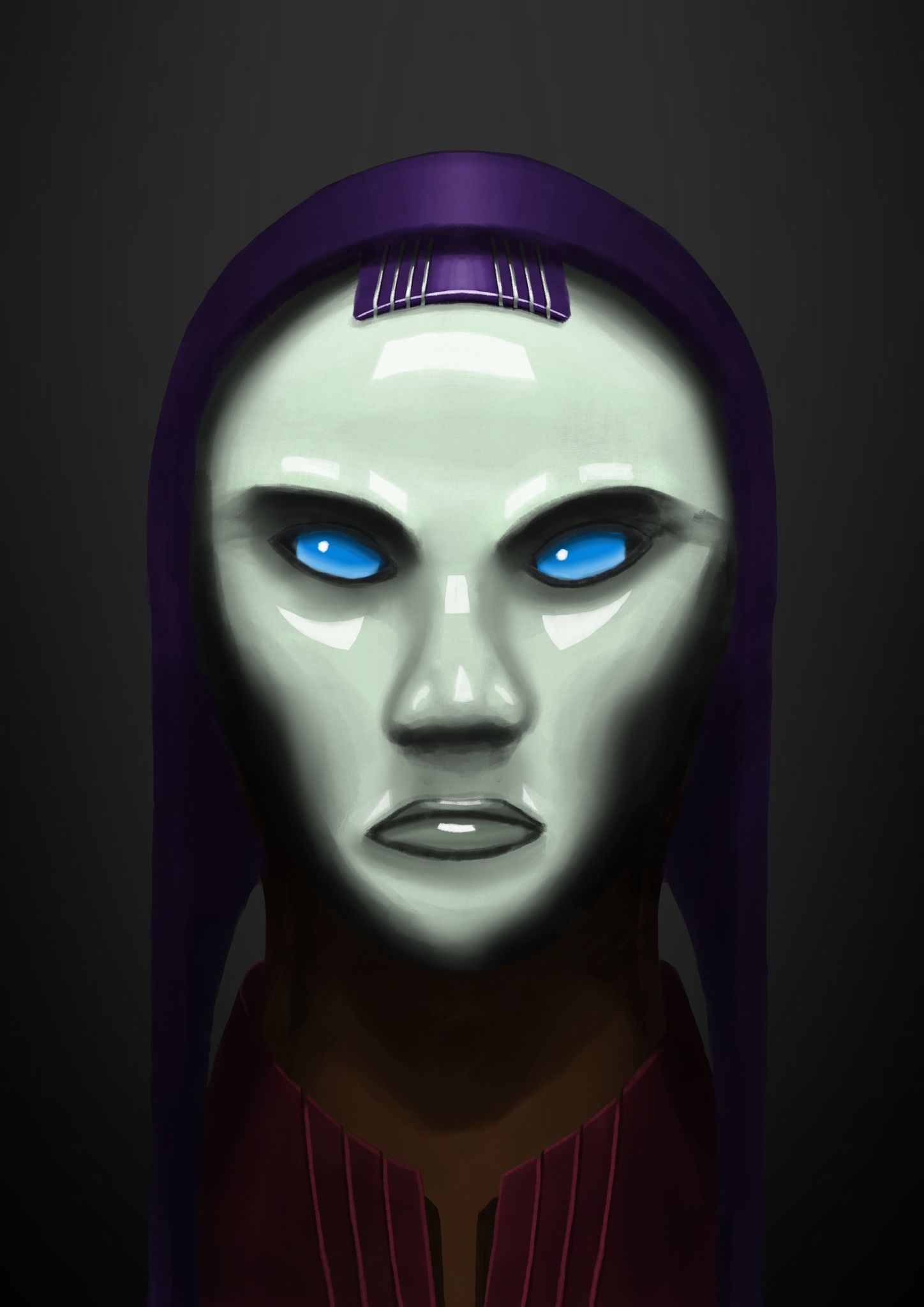 A portrait painting of a clearly-cybernetic/artificial humanoid with green plastic-seeming skin and fully blue orb-like eyes. She has a purple headdress that goes all the way over the top of her head and down both sides of her face.