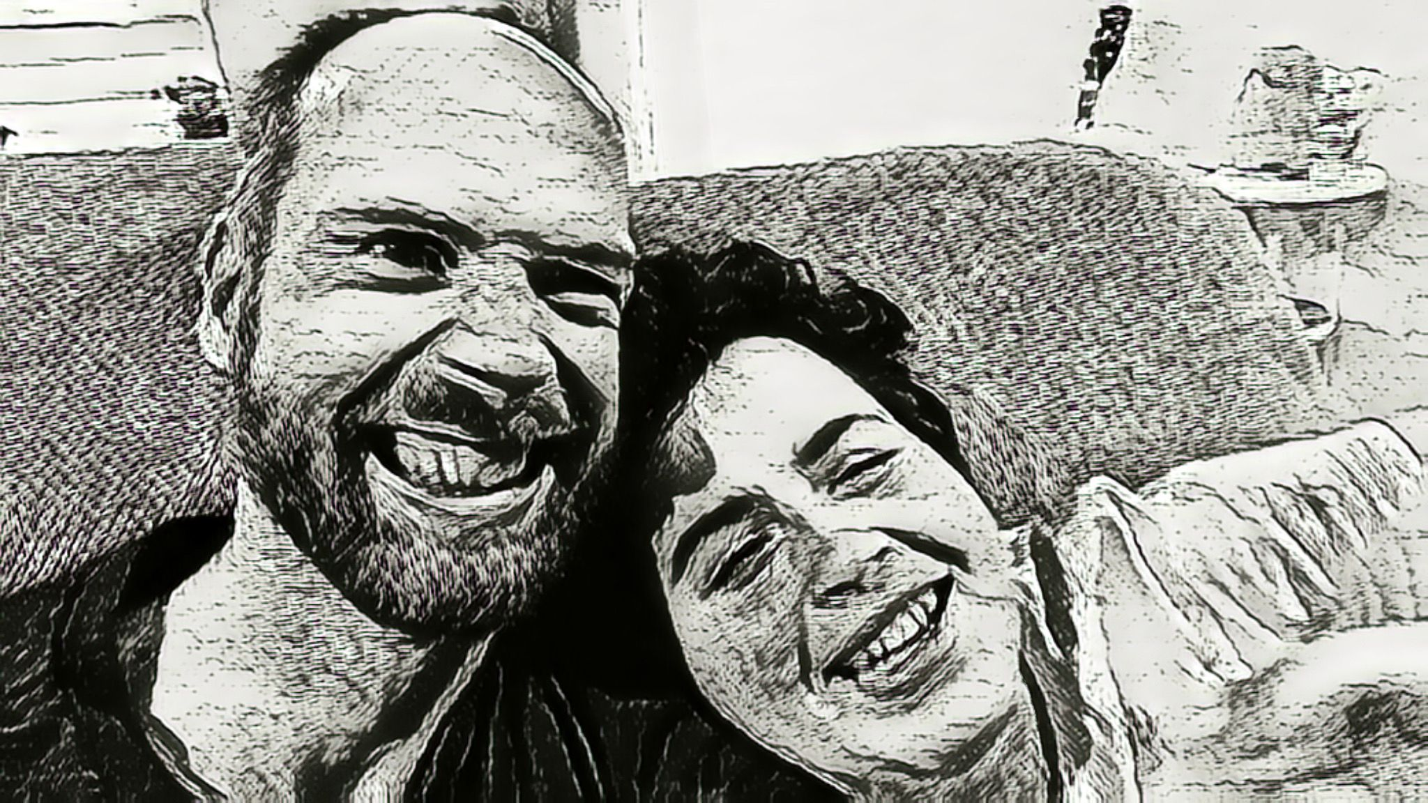 One last photo of Lily and me, this is another pencil-style drawing but in black and white, and we're both cracking up.