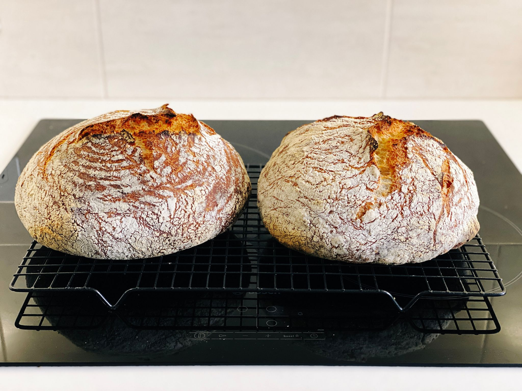 A photo of two round brown loaves of bread sitting on a cooling rack. They have some very nice splitting happening along the tops.