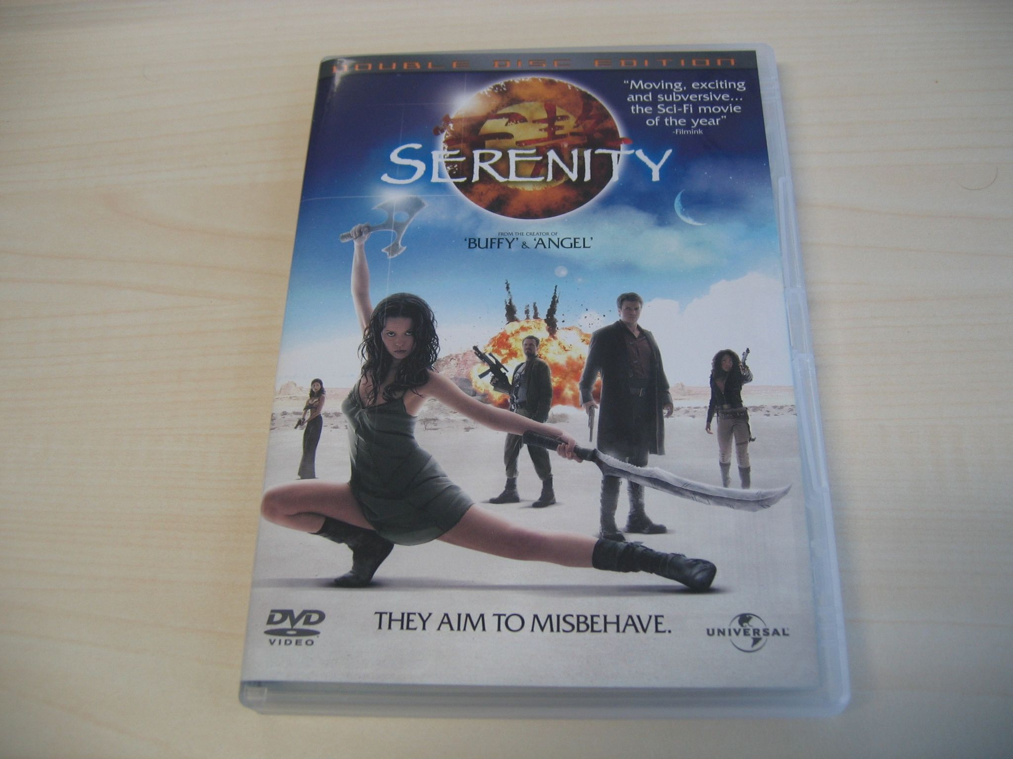 """A photo of the DVD case of the movie """"Serenity""""."""