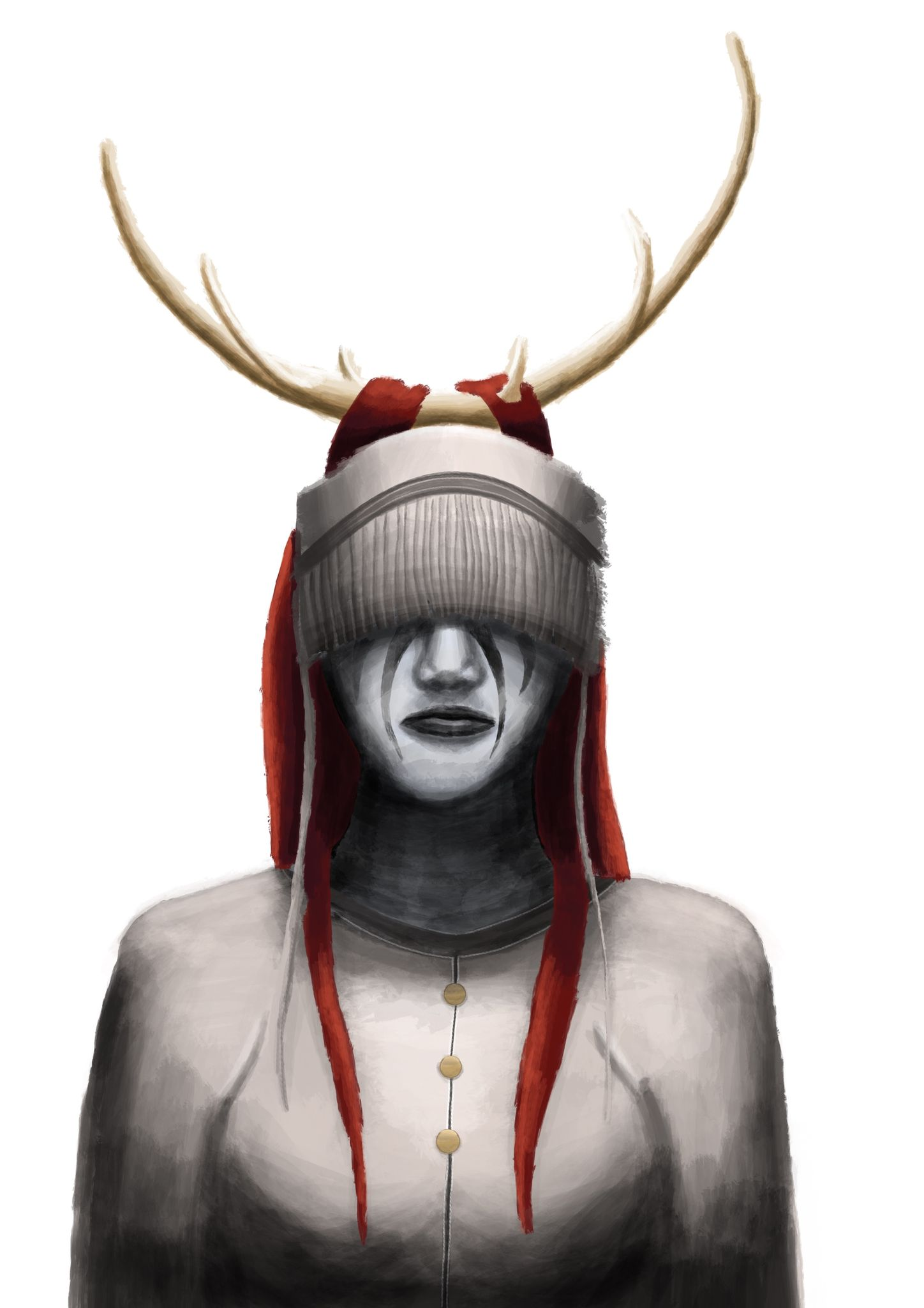 A painting of a woman from the chest up, she has antlers on her head and long red hair, and has headgear that goes over her forehead, with tassles obscuring her eyes.