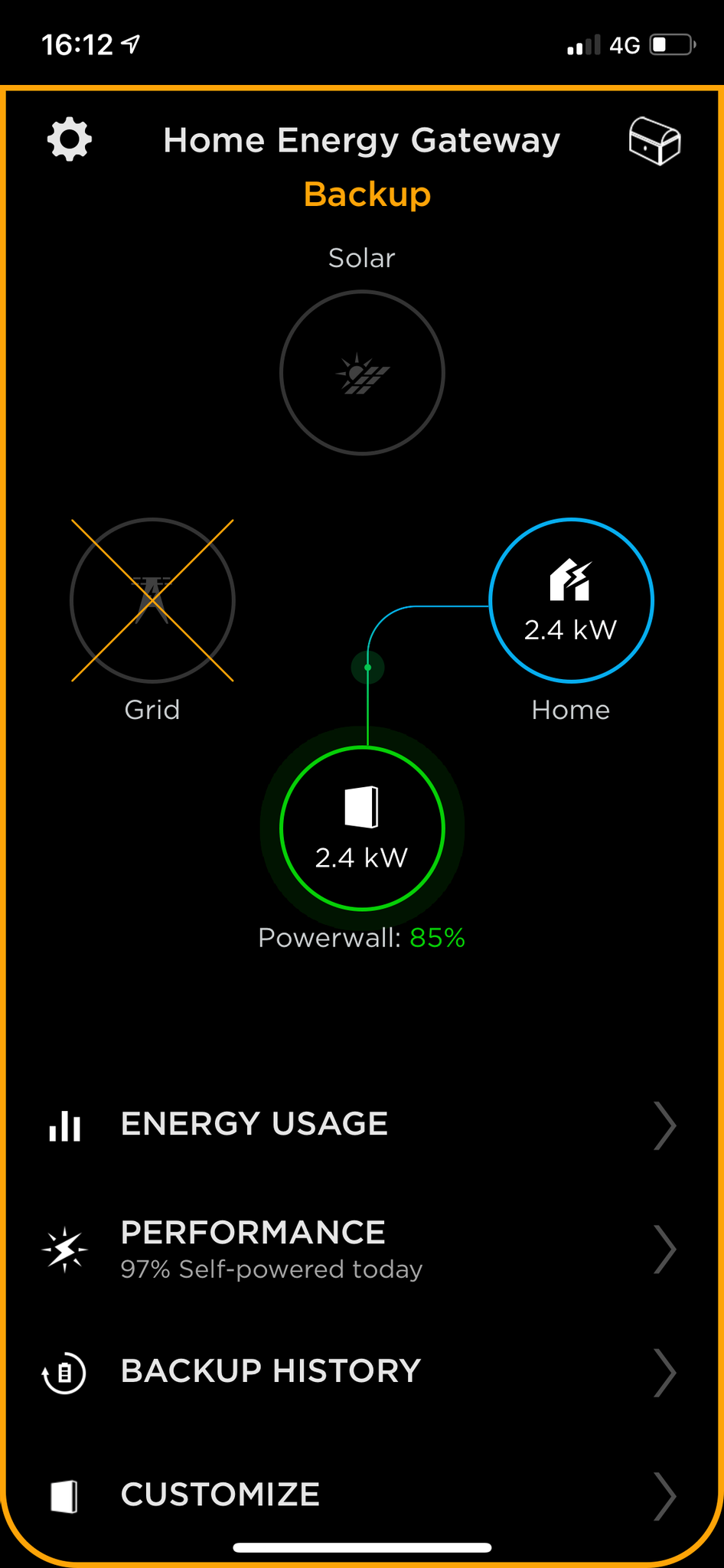 A screenshot from the Tesla app showing that we have no grid power and are running in backup mode solely off the Powerwall.
