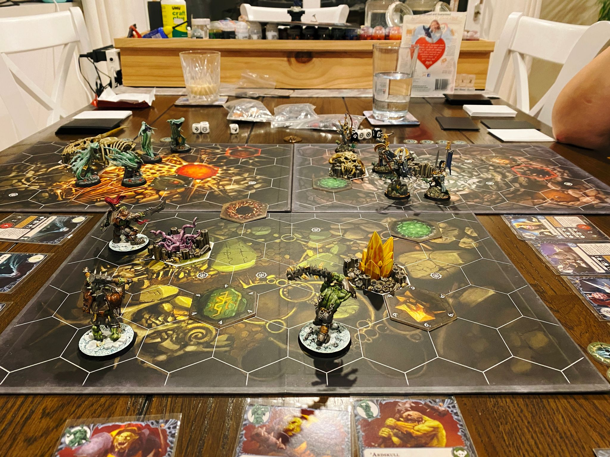 A photo of the second game of Warhammer Underworlds, this was Myari's Purifiers vs. Morgok's Krushas vs. Lady Harrow's Mournflight. I won it with the Mournflight though Wobin got in a solid second place with the Krushas.