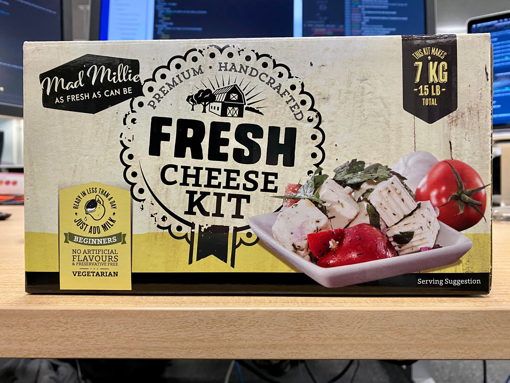 A photo of the box of a home cheese-making kit.
