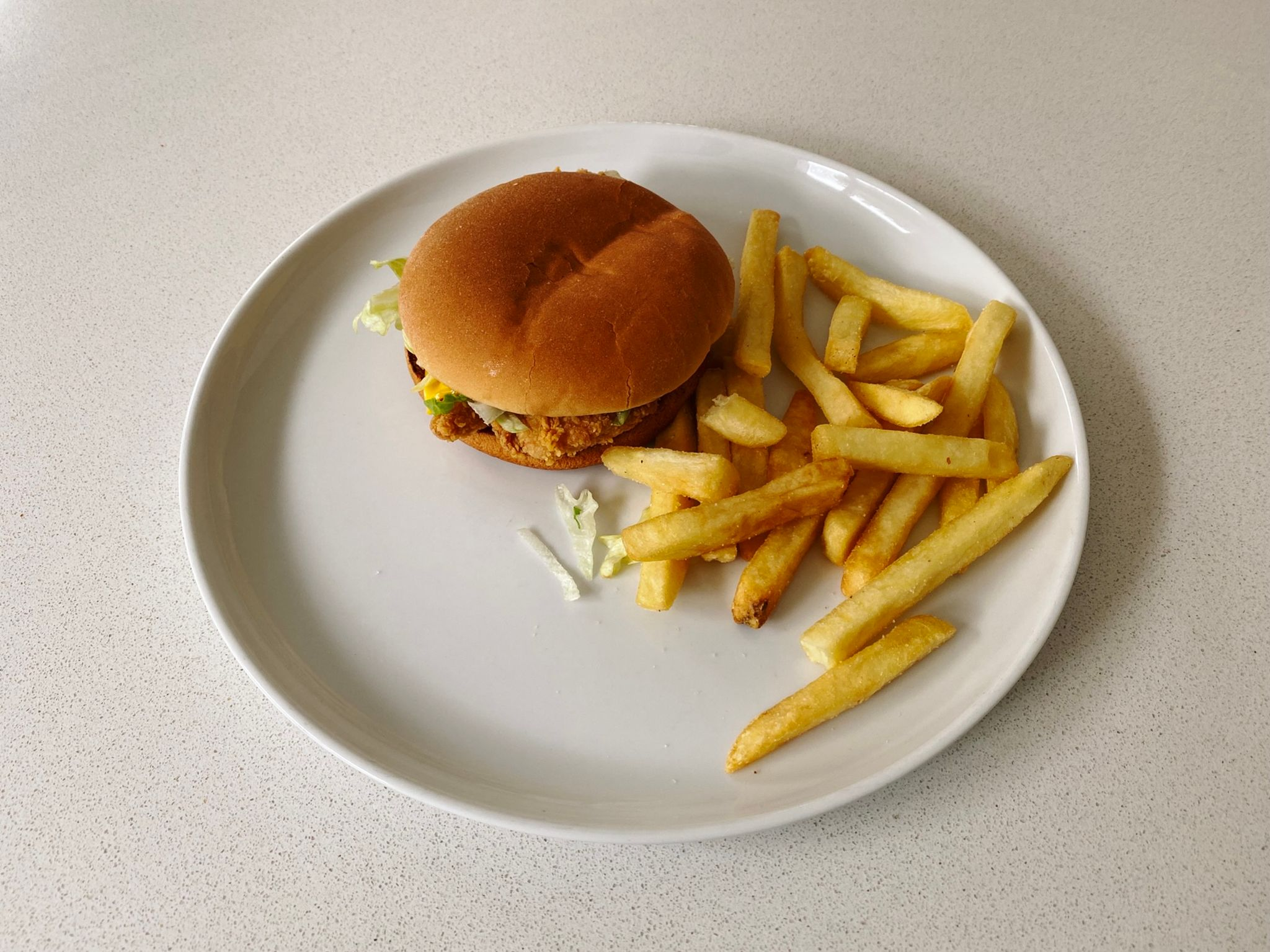 A photo of a chicken burger and chips on a plate.