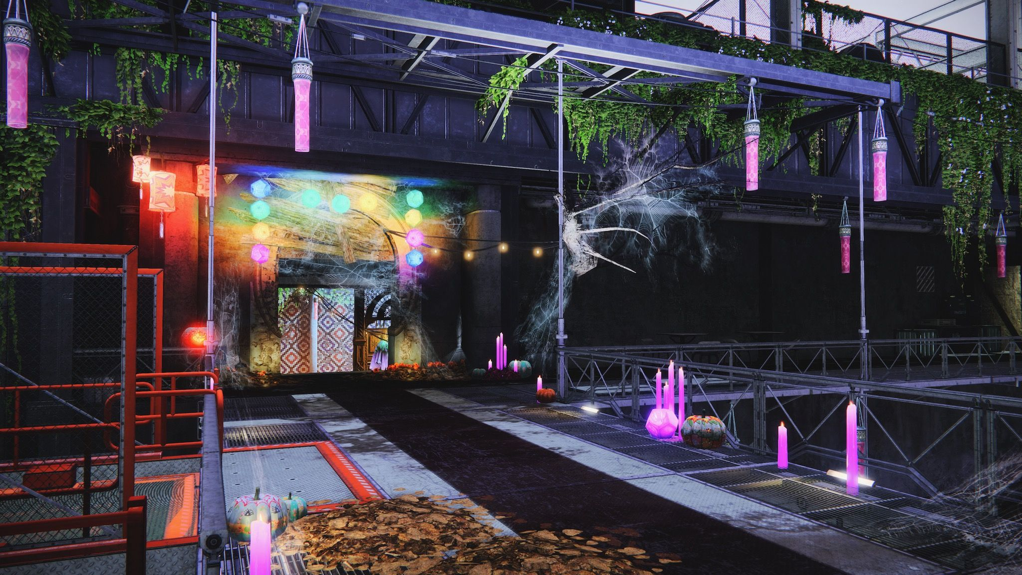 A screenshot of a walkway in Destiny 2, with more cobwebs everywhere and the same purple candles and multicoloured geometric light balls as the other shot.