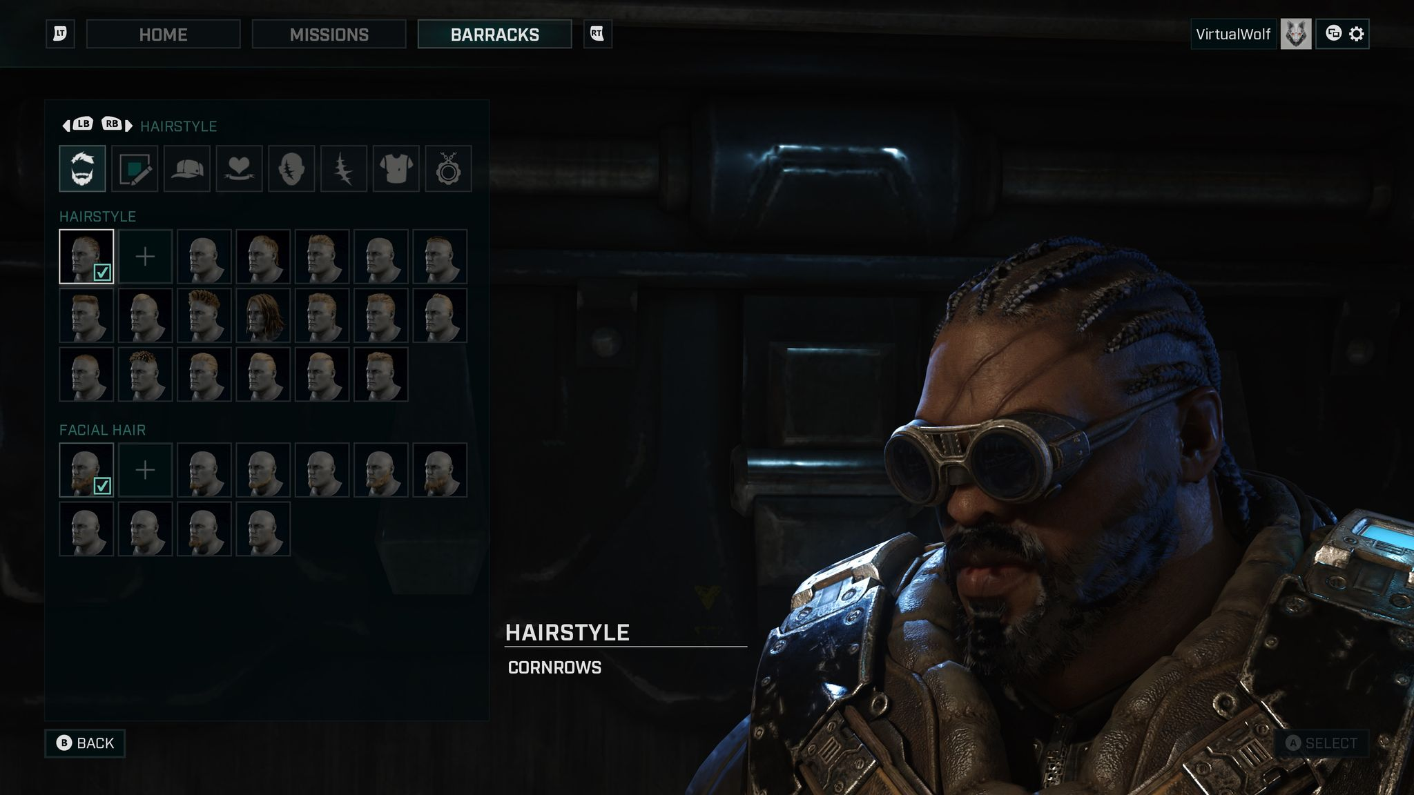A screenshot from Gears Tactics of a Black guy with a full beard, cornrows, and combat goggles on. He's got big chunky armour on and looks like he will fuck you up something FIERCE.