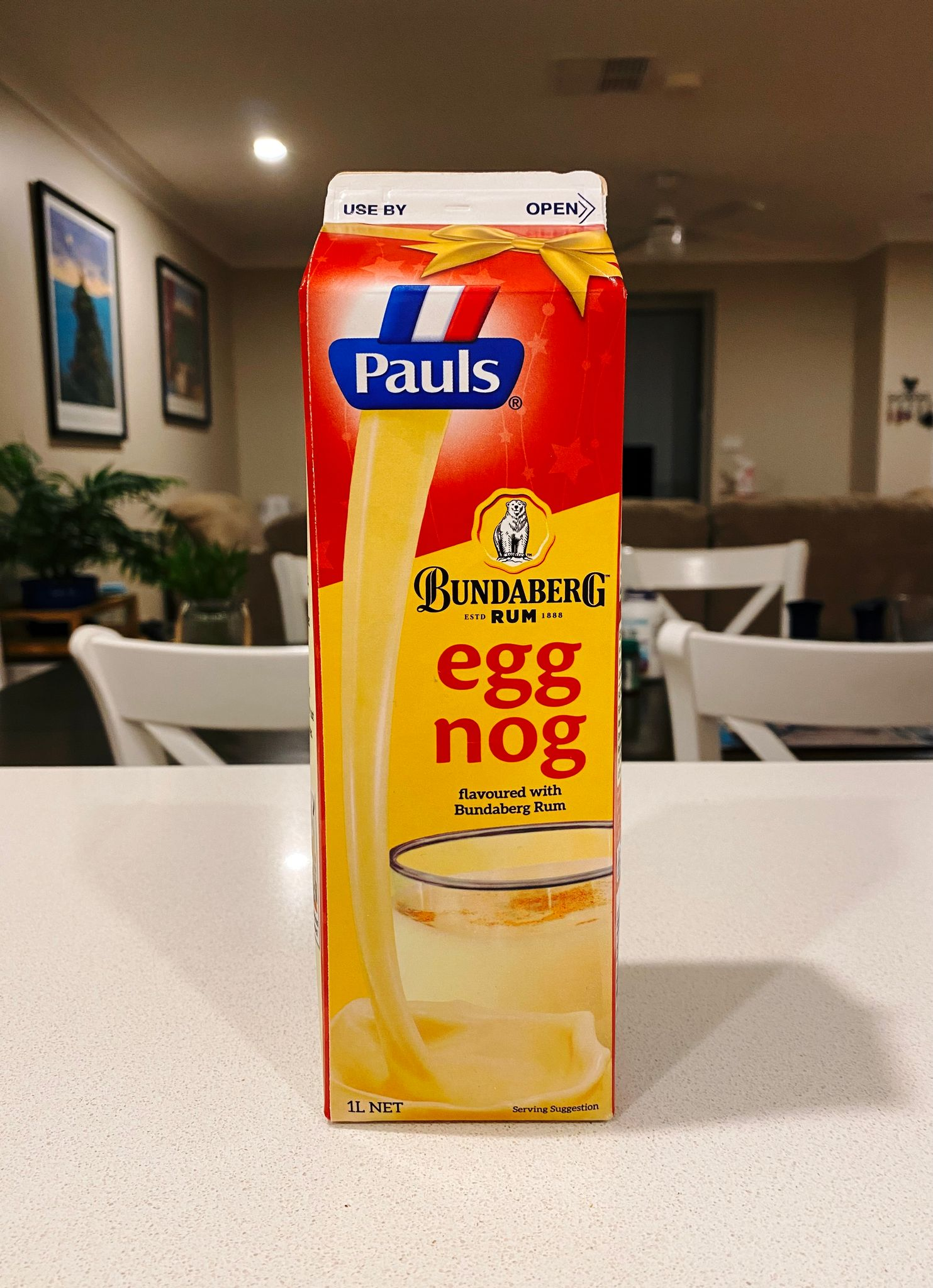 A photo of a carton of Paul's brand egg nog that comes flavoured with Bundaberg rum.