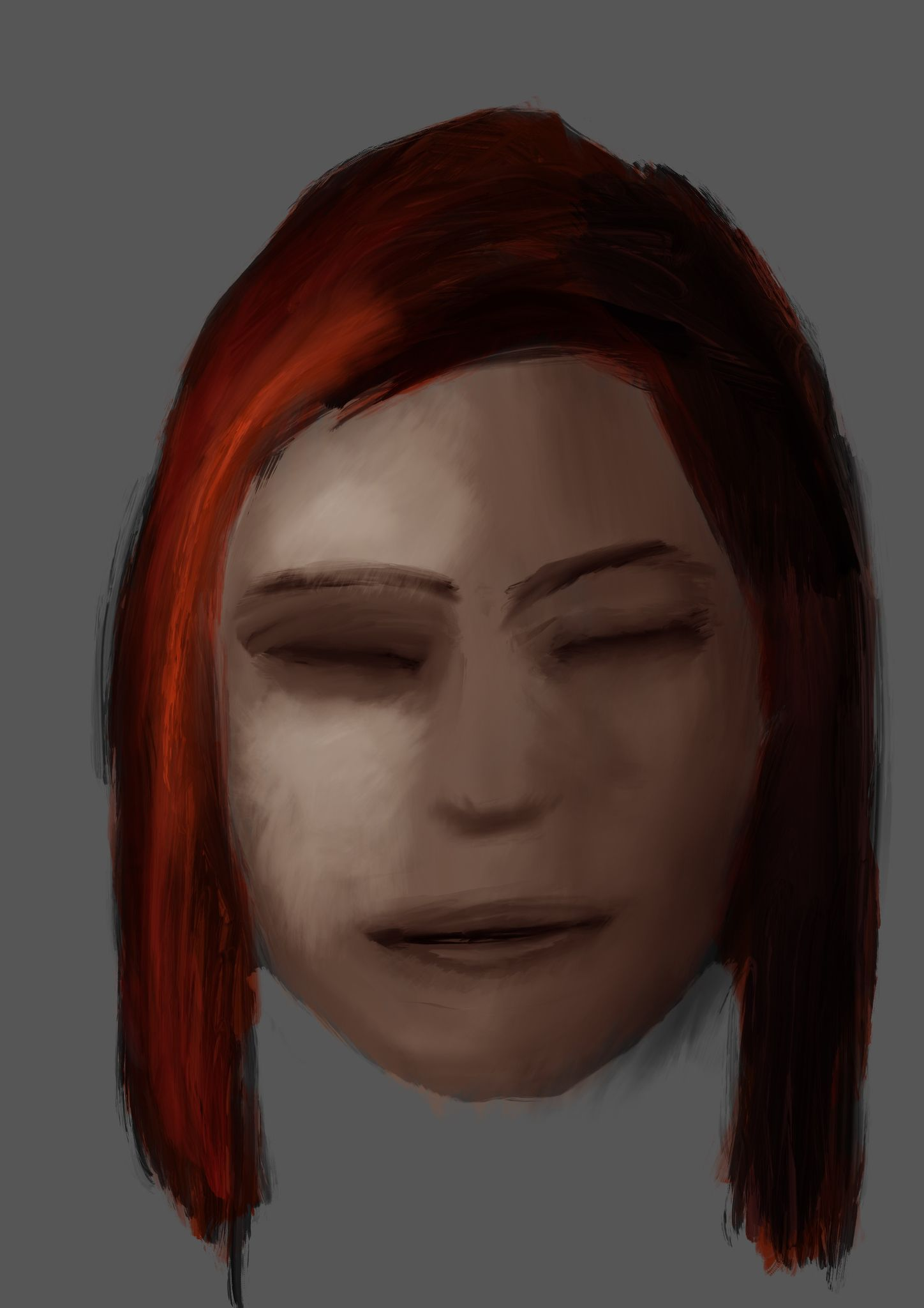 A painting of the head of a woman with her eyes shut. She has red hair and only the left side of her face is being lit.
