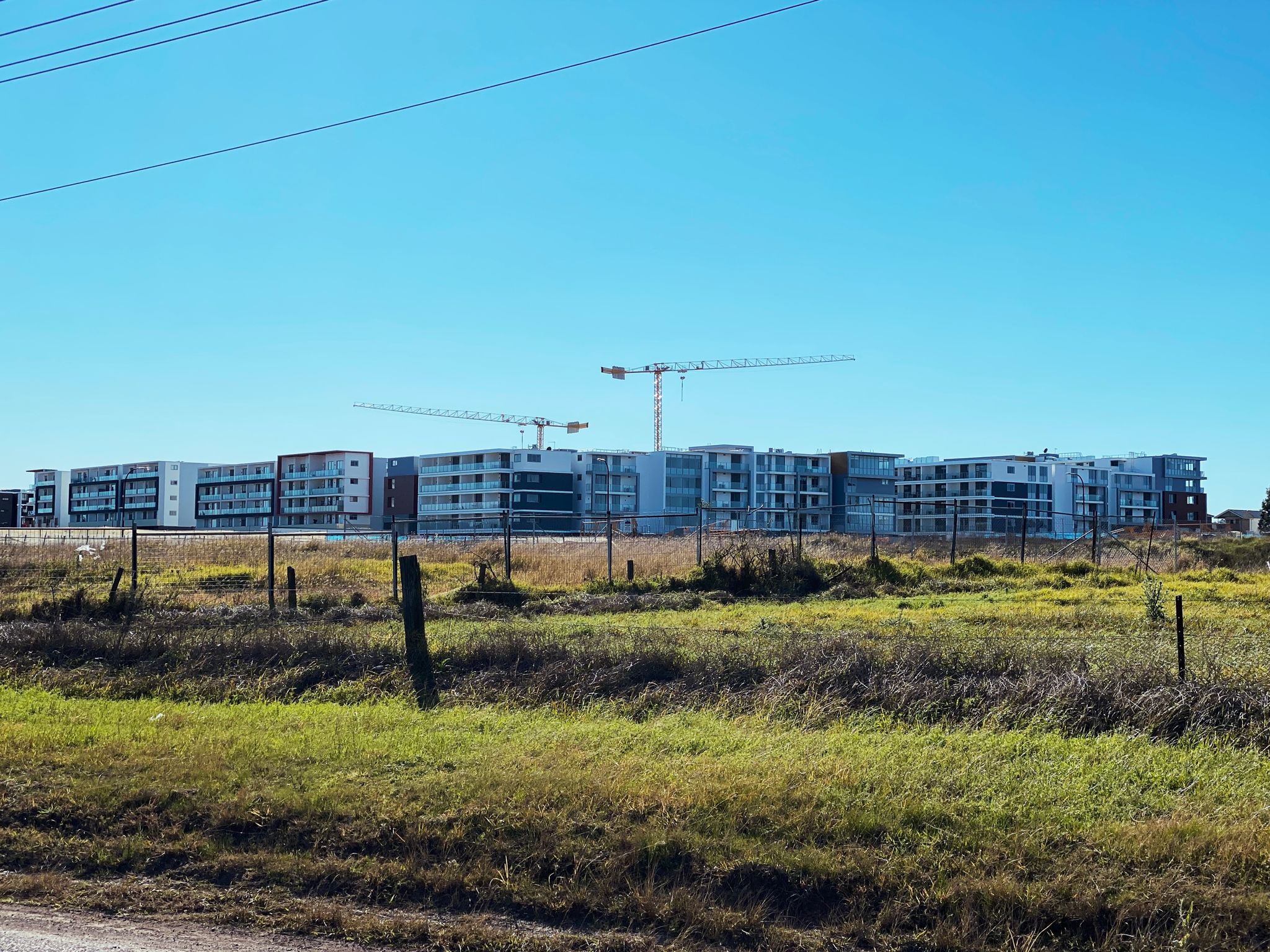 A photo of something like six or seven unit blocks of either four or five storeys in the distance, with huge cranes over the top of them where there's clearly more blocks being constructed behind the visible ones.