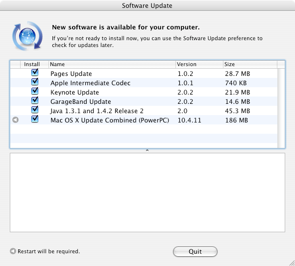 A screenshot of Software Update from Mac OS X 10.4.8. The Mac OS X Updated Combined to go to 10.4.11 is only 186MB.