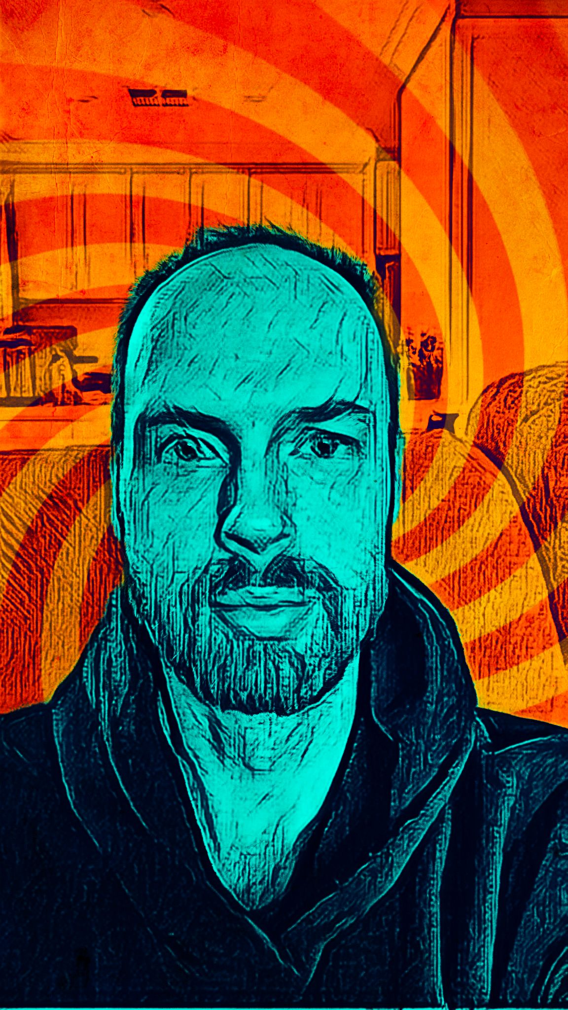 A selfie of me, a white man with a beard, in a pop-art style. The background is coloured orange and has a big swirl, and I'm blue and look like I've been done with pencil.