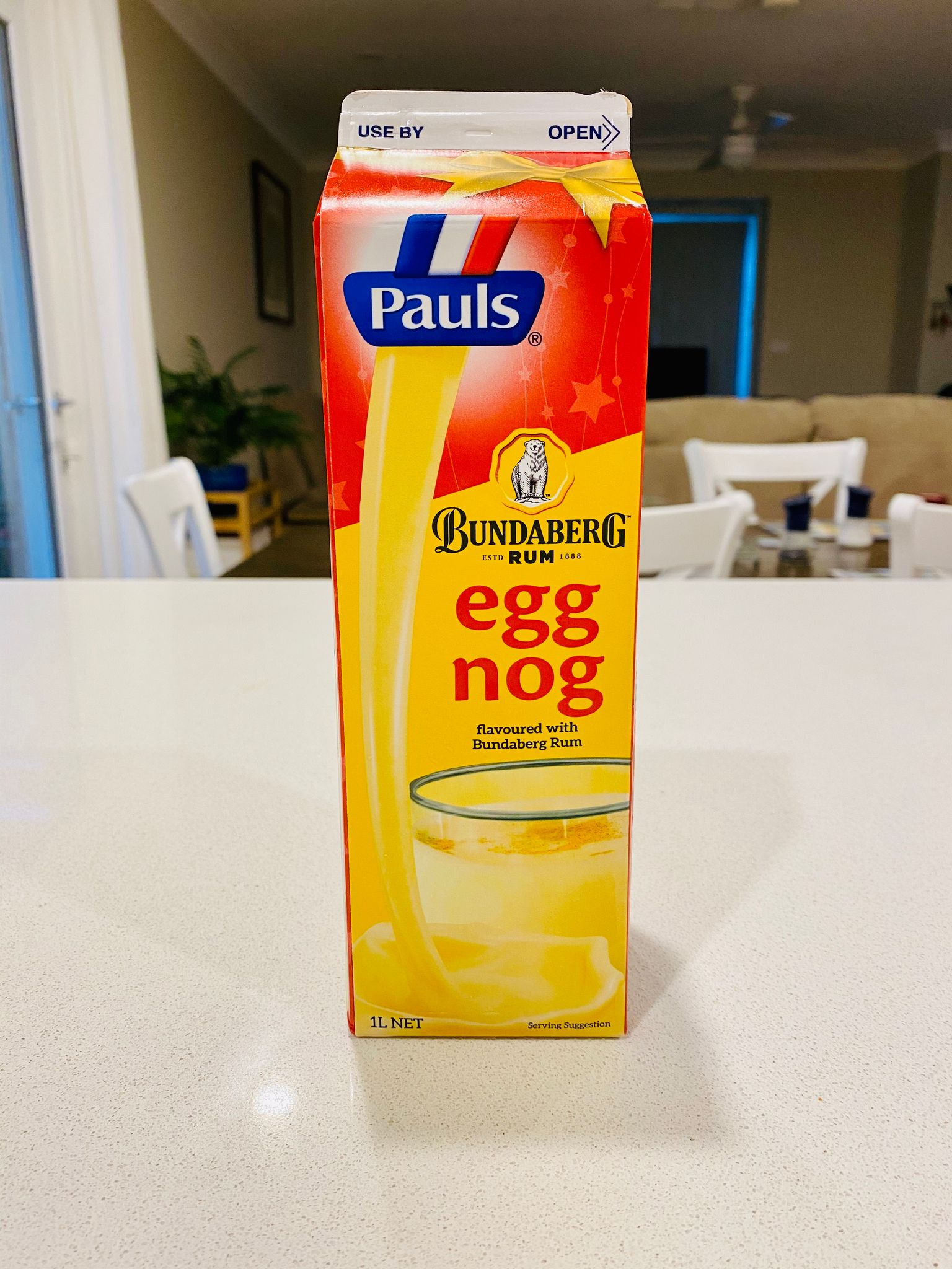 A photo of a carton of egg nog that says it's flavoured with Bundaberg rum.